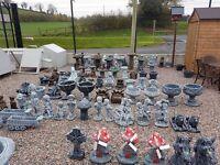 Concrete garden bird baths windmills pots lorries tractors car jcb ornaments benches statues animals