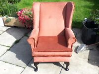 HIGH SEAT WING BACKED FIRE SIDE CHAIR WITH QUEEN ANNE LEGS