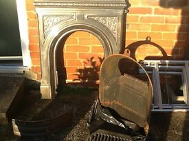 Victoria style pewter fire surround and insert