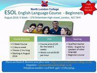 English Language ESOL 5 Week Course/Lessons/Classes - Beginners - Tottenham, North London