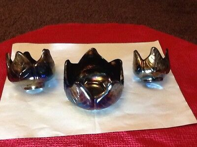 Set Of 3 Lustre Finish Flower Shaped Pots.