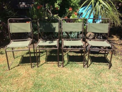 4 vintage metal & canvas chairs
