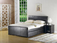Free Black Faux Leather Bed Frame