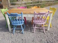 solid pine table and chairs...shabby chic