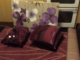 Rug cushions curtains and canvas