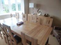 8 Seat Real Leather Solid Oak Large Oak Furnitureland Dorset Extending Dining Table Set Cost £1700