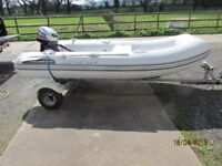 Inflatable boat rib 15hp mariner outboard engine and vario trailer dinghy tender