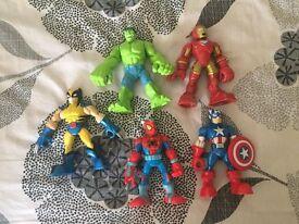 5 x Playskool Superheroes Figures Plus 1 x Brand New Figure