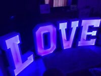 4ft LED Light up Love Letters for Hire - £150