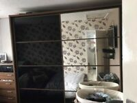 Gloss Black & Mirrored Sliding Wardrobe