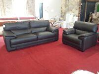designer italian brown leather 2 piece suite (new)
