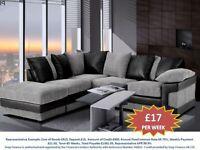 PAY WEEKLY SALE DINO CORNER/3+2 SEATER FABRIC SOFA £17 PER WEEK