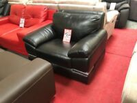 Black real leather armchair