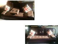 BROWN LEATHER 3 SEATER SOFA /SOFABED PULL DOWN DRINK HOLDER GREAT FOR MOVIES OR GAMING SOFA