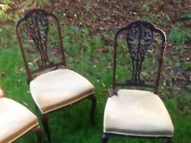 Set 4 mahogany dining chairs ..carved backs
