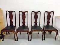 ***4 Solid Wood Fiddle Back Queen Anne Leg Dinning Chairs***£60***FREE DELIVERY***