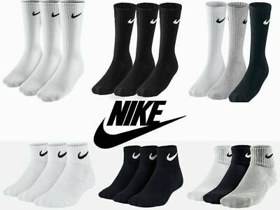 NIKE SOCKS GENUINE MENS WOMEN UNISEX LONG 3 PAIR BLACK WHITE SPORT SOCKS