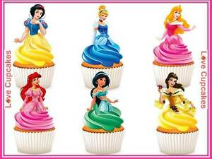 12 Disney Princess Half Body Stand Up Edible Rice Paper Cupcake Toppers Birthday