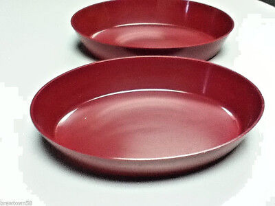 Restaurant Deli Delicatessen Burgundy Oval Food Display Bowls Trays Set Of 2 Aa2