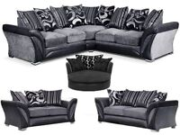 Fabric 3 and 2 seater sofa available colours black and grey or in brown & beige