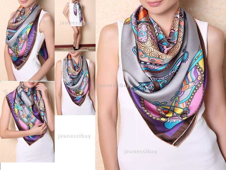 d35666bb8d6 Details about Auth Chinese Ancient Auspicious Silk Scarf Designer Scarves  Women Fashion Style