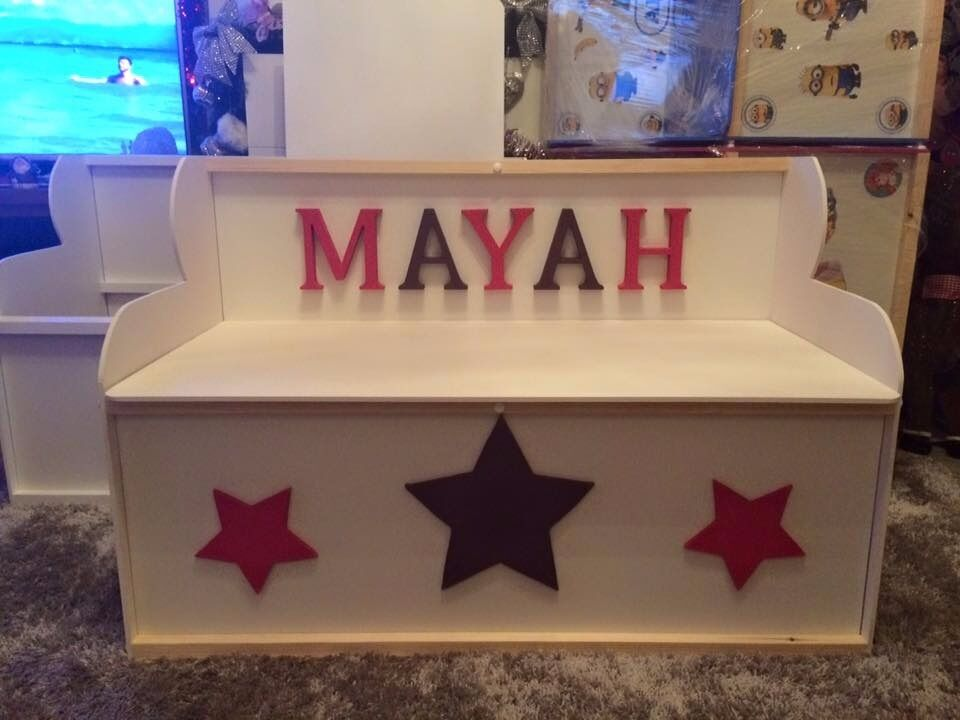 TOY BOXESin Liverpool, MerseysideGumtree - Toy boxes FACEBOOK GROUP IS WALL2WALL4U TOY BOXES 2ft wide £47.50, 3ft wide £57.50 , 4ft wide £77.50 can put a variety of shapes ie hearts stars etc on front of boxes PLEASE NOTE toy boxes with wooden names on buyer will be charged for the letters...