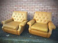 Retro mustard yellow armchairs