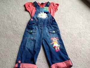 Bnwt Next girls upsy daisy in the night garden dungarees & top set 4-5 yrs rare
