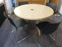Meeting room table and x 4 orange box chairs