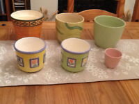 Collection of 6 colourful ceramic plant pots