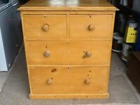 Victorian striped pine chest of draws