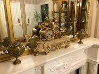 Pair of 19th century victorian brass matle urn clock garnitures