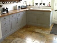 Hand built pine kitchen includes base units/beech work tops/ sink and taps