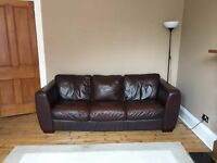 large real leather brown sofa