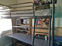2 Single loft beds with desks - Svatra from IKEA - used - matresses not included