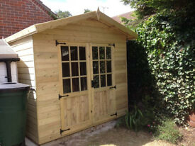 8x6 Shed Apex Summerhouse 9 Pane Double Doors T&G Tanalised Heavy Duty