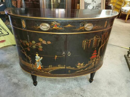 VINTAGE DEMILUNE ENTRY CABINET WITH DRAWER – BLACK LACQUER – HAND PAINTED