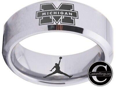 Michigan Wolverines Ring Mens Ring Logo Silver Wedding Band Sz 4 - 17  #michigan ()