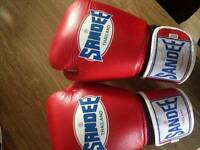 Sandee boxing gloves and shin pads