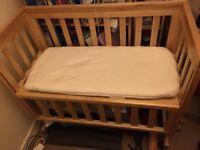 John Lewis dropside bedside crib