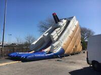 inflatable bouncy castle titanic double slide