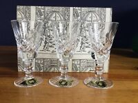 Six vintage hand cut crystal liqueur glasses