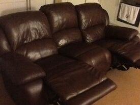 Real leather 2 recliner sofa
