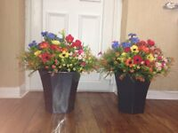 new planters with artificial flowers for sale