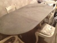 Dining table and 4 chairs, shabby chic
