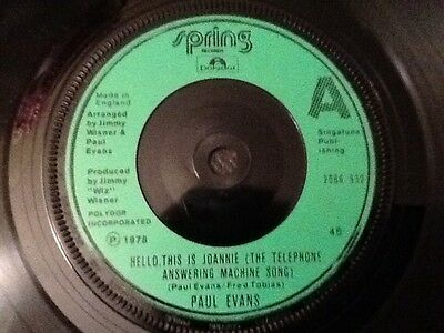 PAUL EVANS Hello, This Is Joannie ( The Telephone Answering Machine Song ) 1978