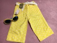 BNWT - NEXT Yellow Cropped Trousers 18-24 Month & FREE Sun Glasses