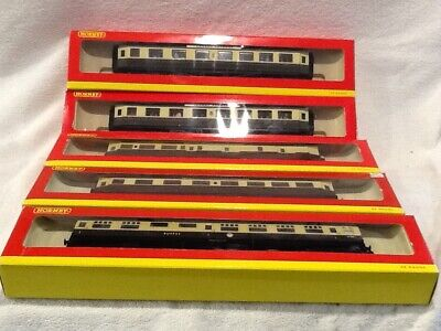 Rake of 4 Hornby Centenery coaches plus buffet car, boxed in vgc Torbay express