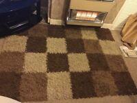 Shaggy brown block rug