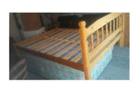 PINE SOLID WOOD DOUBLE BED FRAME COMPLETE WITH MATTRESS VIEWING WELCOME